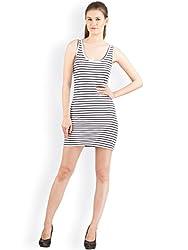 Hypernation Blue and White Color Sleeveless Stripped Dress For Women