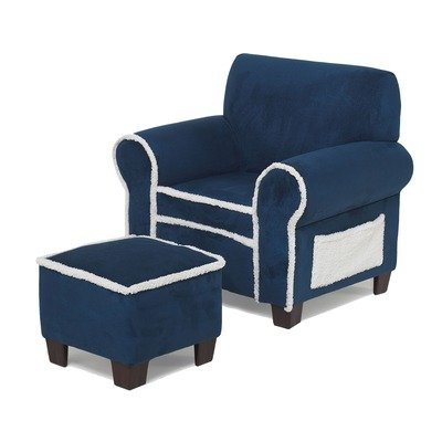 Club Chair and Ottoman Set Upholstery: Blue