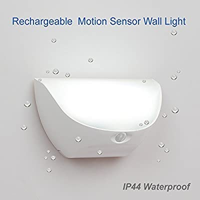 ZEEFO Wireless Rechargeable Waterproof IP44 Wall Light Bright LED Night Light With Motion Sensor Battery Powered Light Fence Lamps Outdoor Pathway Garden Light, Driveway, Bathroom, Stair Step Lighting for Kids Nursery Seniors Security Light
