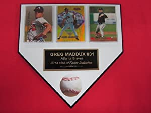 Greg Maddux Atlanta Braves 3 Card Collector HOME PLATE Plaque EXCLUSIVE DESIGN to... by J & C Baseball Clubhouse