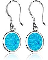 Dormith® 925 sterling silver created blue fire opal women's drop earrings