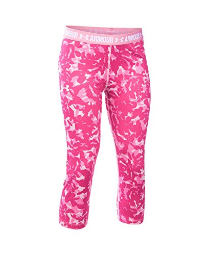 Under Armour Girls' HeatGear Armour Printed Capri, Pink (650), Youth X-Large