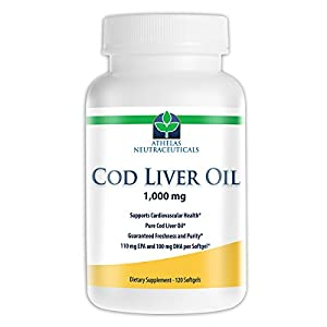 Cod Liver Oil Capsules - 120 softgels of Premium Cod Liver Oil Supplement with Vitamin A and D - Freshness and Purity Guaranteed - 240mg of Omega 3 Fatty Acids - 110mg EPA 100mg DHA