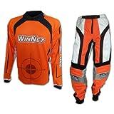 WinNet Completo tuta maglia e pantaloni da cross motard arancione, Taglia: XXL