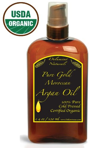 Pure Certified Organic Virgin Moroccan Argan Oil - Skin, Hair, Face, Care, #1 AcneTreatment Product, Magic Added to Shampoo Conditioner Cream - 4oz Pump