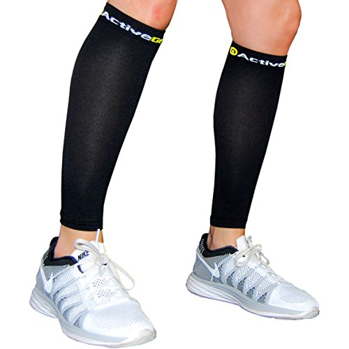 ActiveGear Calf Compression Sleeve | Shin Splint Compression Sleeve | Leg Compression Socks for Running Cycling Travel | Improve Circulation and Support Recovery (1 Pair)