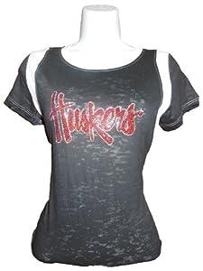 NCAA Nebraska Cornhuskers Junior Burnout Football T-Shirt by Collegiate Fashionista