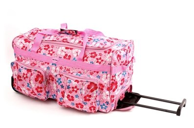 "Ladies 26"" Pink multi Flower Holdall (Weekend Bag, Maternity Bag, Hospital Bag, Gym Bag, Baby Bag, Sports bag)"