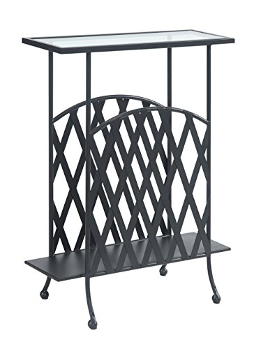 Convenience Concepts Wyoming Wrought Iron Glass Top Side Table, Tempered Glass (Iron Glass compare prices)
