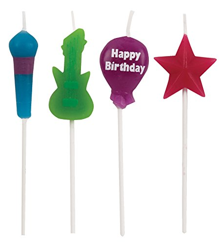 Creative Converting 4 Count Molded Pick Sets Birthday Cake Candles, Rock, Multicolor - 1