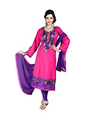 Blissta Pink Semi Cotton Embroidered Anarkali Dress Material