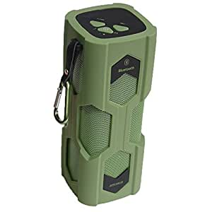 waterproof bluetooth speaker Portable Bluetooth V4.0 Speaker for Outdoors/shower NFC (Army Green)