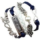 Bracelet Infini Love Believe Ailles d'Ange et et Perle / Infinity / One Directio - Bleu / Argenté