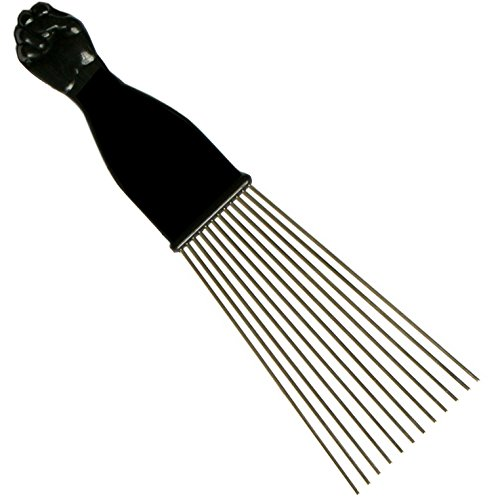 SSK Fan Afro Pick with Black Fist - Metal African American Hair Comb (Large Fan Pick compare prices)