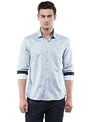 GIVO Light Blue Printed Casual Shirt