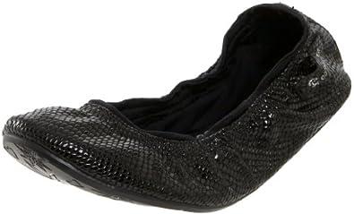 Ballasox by Corso Como Women's Festive Ballet Flat, Black Naja/Black Stretch Lycra, 6 M US