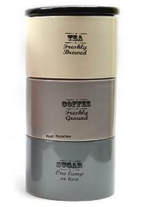 Silver grey cream freshly brewed ceramic retro stacking tea coffee sugar storage canisters - Tea coffee sugar stacking canisters ...