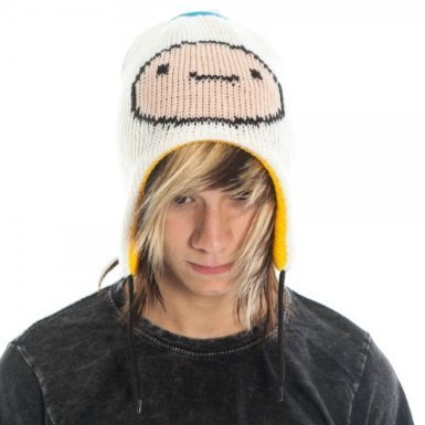 Adventure Time Jake & Finn Reversible Laplander Winter Beanie Hat (White/Yellow)