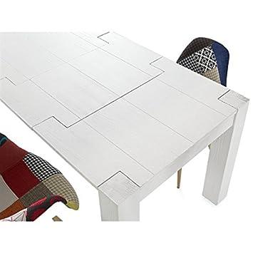Table moderne sapin blanc brossé 140x 90à l.