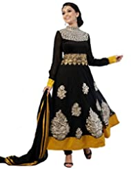 Kumud Kala Women Net Lace and Resham Embroidered Unstitched Anarkali Suit
