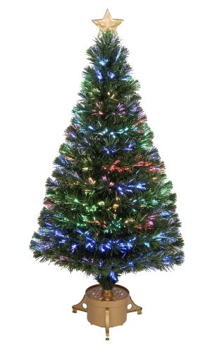 Jolly Workshop Multi-Color Led Fiber 175 Tips 14-Ply Optic Tree Top Star With Gold Base, 48-Inch