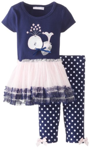 Bonnie Baby Baby-Girls Infant Whale Applique Tutu With Capri, Navy, 18 Months back-219645