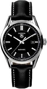 Men's Carrera Diamond Automatic Black Dial Black Genuine Leather