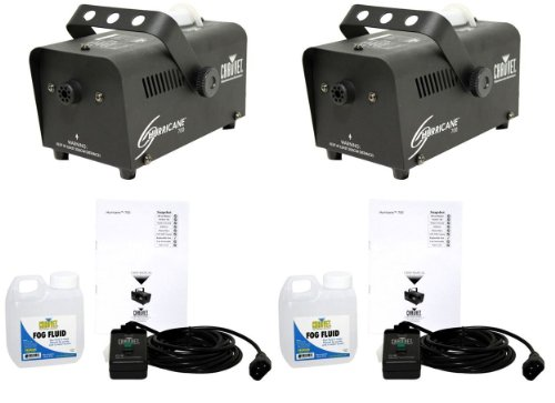 (2) Chauvet Hurricane H700 1,500 Cubic Feet Per Minute Fog/Smoke Machines With Wired Remotes