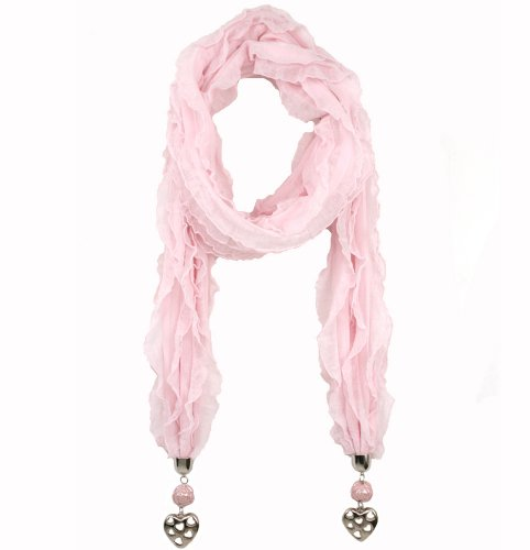 Light Ruffle Heart and Rose Jewel Embellished Emily Scarf in Light Pink