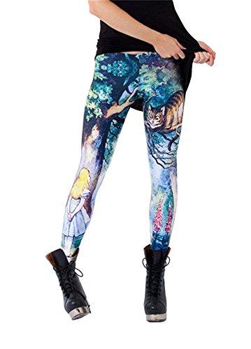 Women'S Fashion Digital Print Cheshire Cat Nana Pattern Sexy Leggings