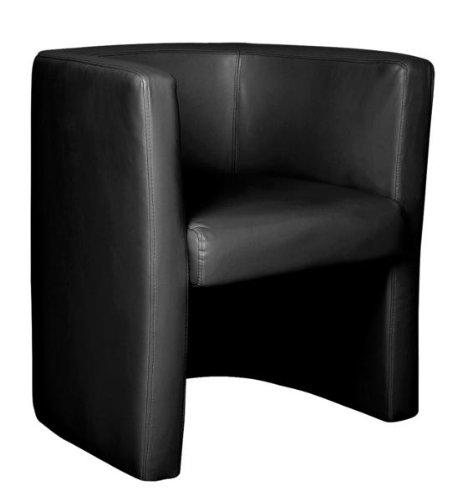 Eliza Tinsley Stylish High Back Black Leather Faced Tub Chair TUB/LBK