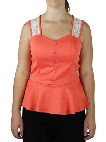 Alfa Global Plus Size Racer Back Dressy Top With Lace And Light Pink 3X