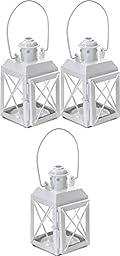 Lot Of 3 White Railway Candle Lantern Table Centerpiece Wedding