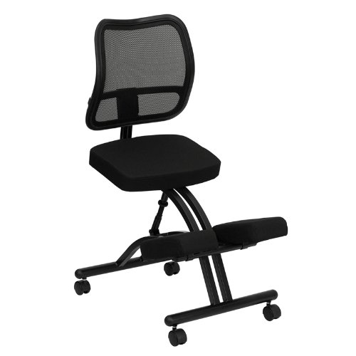 Flash Furniture WL-3520-GG Mobile Ergonomic Kneeling Chair with Black Curved Mesh Back/Fabric Seat