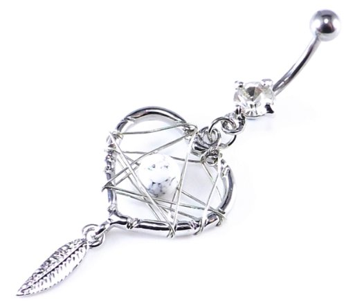 Clear Crystal Gem Heart Shaped Dream catcher Dangle belly bar 14 Gauge = 1.6 x 10mm Length