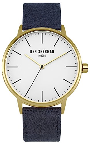 Ben Sherman Men's Quartz Watch with White Dial Analogue Display and Navy Fabric Strap WB009UG