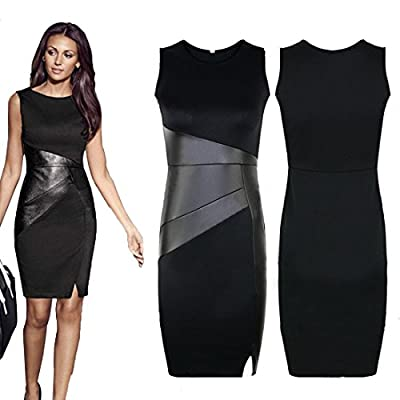 Voberry®Sexy Women Bodycon Sleeveless Work Party Evening Cocktail Mini Dress