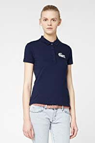 L!VE Short Sleeve Stretch Pique Colored Winking Crocodelle Polo