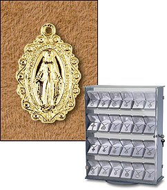 18kt Gold Plated Silver St. Mary Mother of God Miraculous Medal (Pendant-Charm) Oval Patron Saint with 18