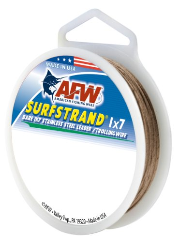 American Fishing Wire Surfstrand Bare 1x7 Stainless Steel Leader Wire, Camo Brown Color, 10 Pound Test, 30-Feet