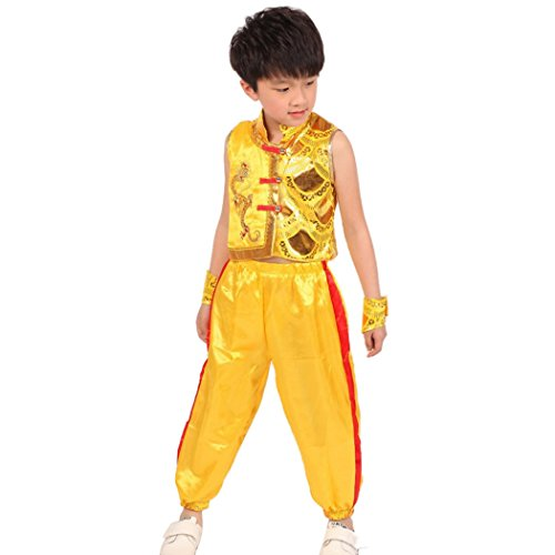 LIANTANG Traditional Chinese Boy Dragon Sleeveless Sequined Kung Fu Outfit