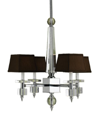 Candice Olson Cluny 4 x 40-Watt Light Chandelier, Chrome with Strong Crystal Accents and Chocolate Poly/Silk Shades