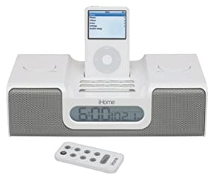 ihome ih5r alarm clock radio for ipod w remote white. Black Bedroom Furniture Sets. Home Design Ideas