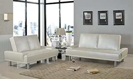 Furniture2go UFE-1400 Lorena Metallic White Futon Sofa + Loveseat - Synthetic PU Leather