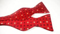 Marlon Garci 100% Woven Silk Red Print Self-Tie Bow Tie