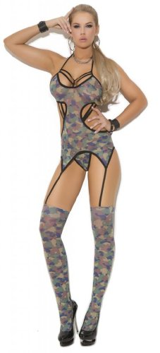 Costume Adventure Women's Army Girl Camouflage Lingerie Body Stocking Set