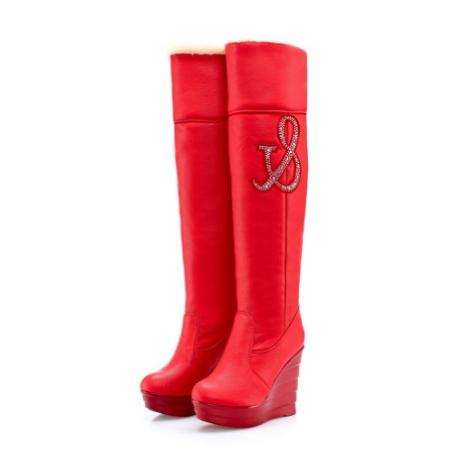 BeautyLover Women's Korean Style Solid Wedge High Snow Boots With Round Toe and Rhinestones,Red,37