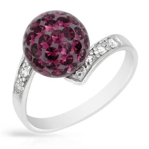 Ring With Genuine Crystals Purple Enamel and 925 Sterling silver (Size 6)