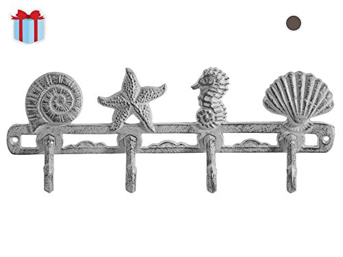 Cast-Iron-Wall-Hanger-Sea-Horse-Stars-and-Shells-with-4-Hooks-Wall-Mounted-Decorative-Rack-For-Coasts-Hats-Keys-and-More-with-Screws-and-Anchors-By-Comfify