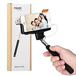 Selfie Stick, Noot® Self Portrait [Battery Free] Extendable Handled Stick with Adjustable Phone Holder & Built-in Remote Shutter Designed for Apple, Android Smartphones